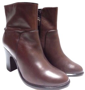 Rag & Bone Ankle Leather Lustrous Calfskin Side Zip Closure Made In Italy Brown Boots