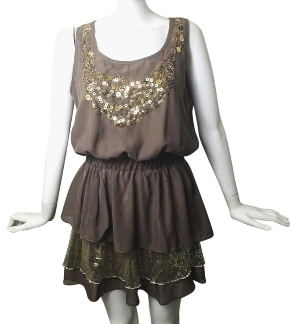 Item - Gold and Brown Sequin Chiffon Summer Above Knee Short Casual Dress Size 12 (L)