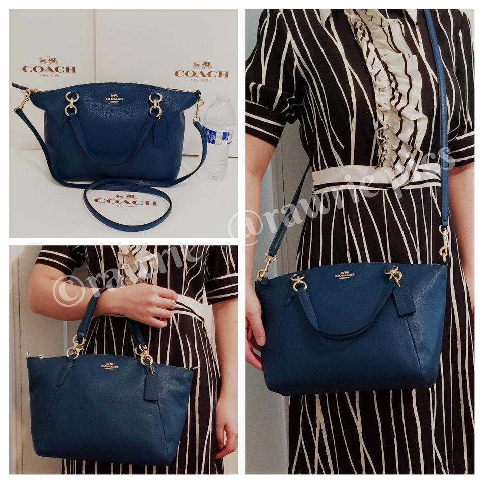 2f7dfb421078e Coach Kelsey Pebbled Small Satchel Tote Blue Leather Cross Body Bag 43% off  retail