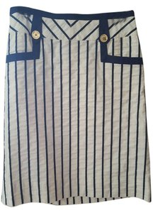 Tory Burch Tb Skirt White and Navy Stripe