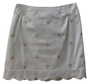 Lilly Pulitzer Mini Skirt Tan Green and Pink