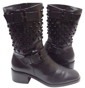 MICHAEL Michael Kors Studded Moto Side Zips Leather Black Boots