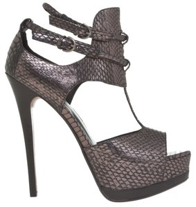 Max Studio Leon Max High Heels Snake Open Toe Pewter Platforms