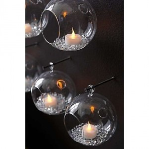 Clear Crystal 6 Hanging Bubble Tea Light Holder Set Of 8x8 Inch Circumference Decor. Home Decor Terrarium. Votive/Candle