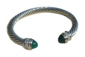 David Yurman David Yurman Cable Classics Collection - 7mm Green Onyx & Diamond Cuff Bracelet, Medium