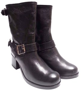 Frye Zip Grain Leather Hand Burnished Buckled Straps Made In Mexico Black Boots