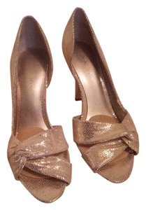 Nine West Satin Stiletto Gold Pumps
