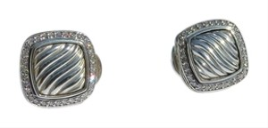 David Yurman David Yurman 11mm Albion Sculpted Sterling Silver and Pave' Diamond Earrings
