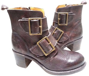 Frye Double Buckle Vintage Look Walnut Montana Sto Boots