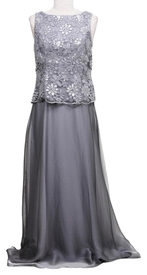 Patra Womens Silver Sequined Sleeveless Gown Long Formal Dress Size