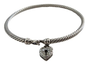 David Yurman Cable Collectibles - 3mm Pave' Heart Locket Charm Bracelet, Small
