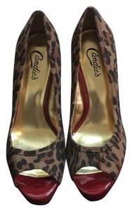Candie's Red, brown, gold and black Pumps