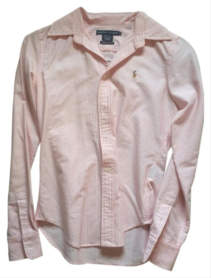 White And Custom Fit Polo 4s56Off Retail Striped Button Down Shirt Size Ralph Lauren Top Pink 9IeEbDHW2Y