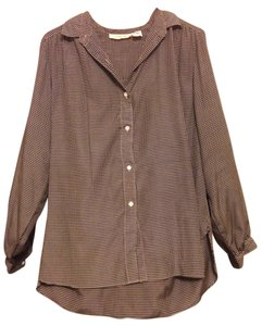 Evan Picone Button Down Shirt Black, Gold (non-metallic), Beige