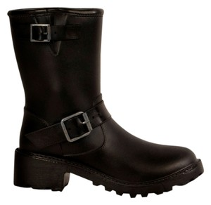 däv Moto Water-proof Rain Celebrity Chunky Black Boots