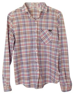 H.I.S. Button Down Shirt White, Brown, Orange, Pink, Blue