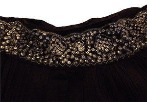 BCBG Max Azria Maxi Skirt Brown with gold beading