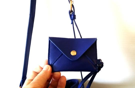 Custom-Made Bucket Blue Vegan Leather Faux Suede Cotton Lining Envelope Credit Card Envelope Never Used New Cross Body Bag
