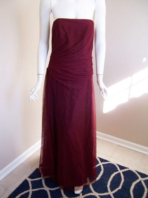 Item - Ruby Gown Tulle Strapless Rushing Burgundy Train Long Formal Dress Size 10 (M)