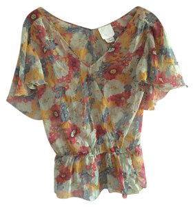 Anthropologie 100% Silk Spring Top Floral