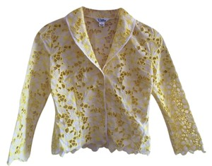Lilly Pulitzer Cut-out Yellow and White Floral Blazer