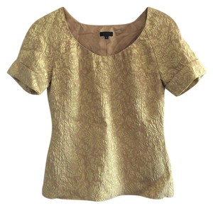 J.Crew Embossed Baroque Floral Top Gold