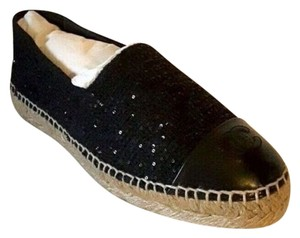 Chanel Black Espadrilles Espadrilles Sequence Navy Flats