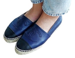 Chanel Blue Leather Espadrilles Navy Flats