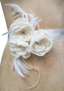 Ivory Bridal Satin Sash Belt With Ivory Chiffon Flowers And Feathere
