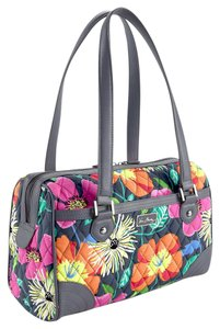 Vera Bradley Caroline Leather Satchel in Jazzy Blooms