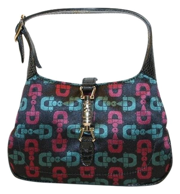 Item - Jackie Mini Black with Red and Green Horsebits Satin Hobo Bag