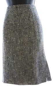 Moschino Pencil Tweed Ivory/gray Side-zipper Skirt Ivory/Gray Tweed