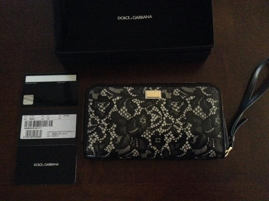 Dolce & Gabbana New In Box With Care Card Card Tag Attached To The Of The Box Pvc Coated Lace Leather 12 Credit Card Slots Internal Wristlet in black and off white