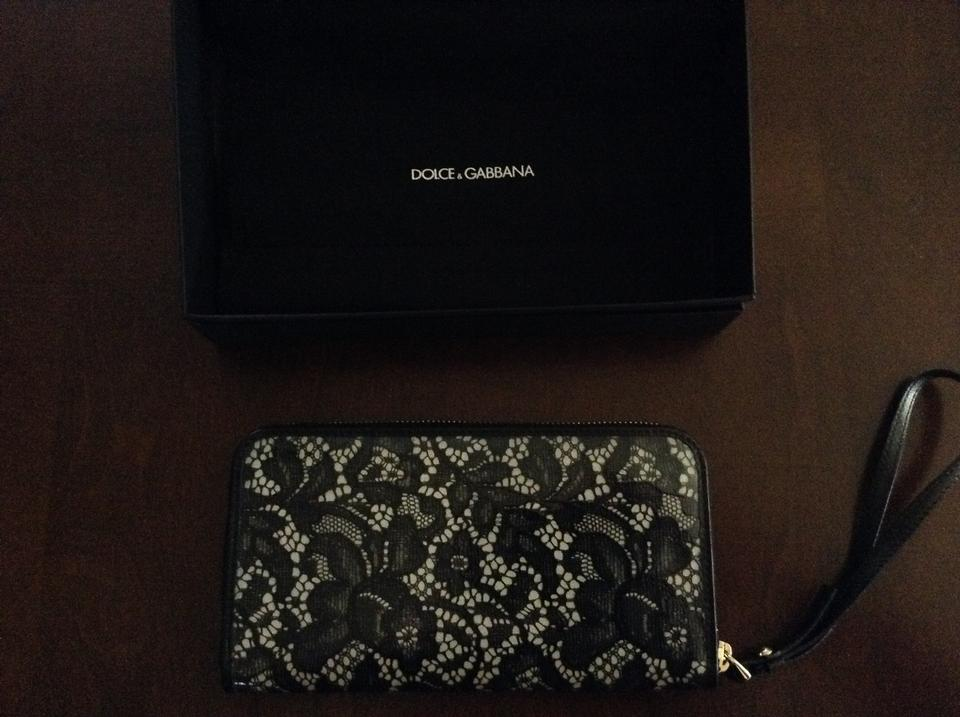 amp;Gabbana Pvc Wallet White and Dolce Coated Lace Off Wristlet Leather Wristlet Black 8qBf6d