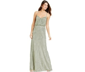 Adrianna Papell Mint Beaded Blouson Gown Dress