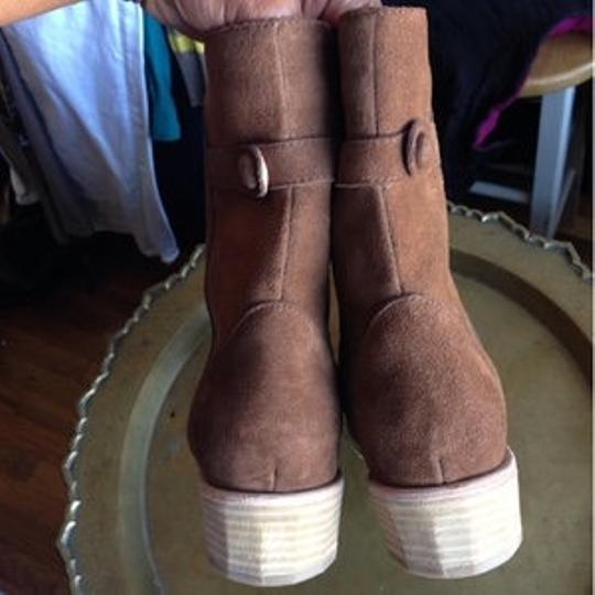 Fiel Motorcycle Short Short Ankle Chocolate Suede Boots