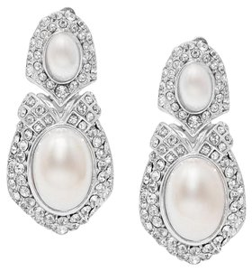 White Silver/Rhodium Clear Rhinestone Crystal Clip On Pearl Earrings