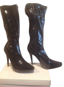 Cindy Collection Internal Platform Black patent Boots