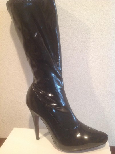 Cindy Collection Internal Platform Stretch Black patent Boots