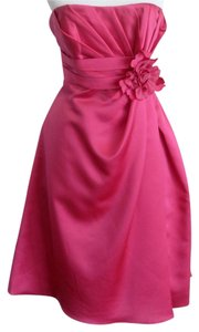 Alexia Designs Bridesmaid Hot Pink Fuchsia Strapless Pockets Dress