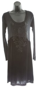 4 Love and Liberty Velvet Beaded Scoop-neck Long-sleeve Dress