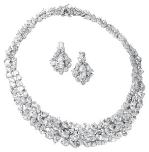 Silver/Rhodium Stunning Hollywood Glamour Couture Crystal Necklace Earrings Jewelry Set