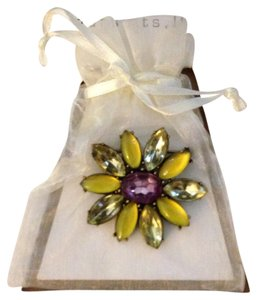 NEW 1990's Green Yellow & Purple Swarovski Multi-Faceted Rhinestone Navette Crystals Flower Pin Brooch Designed By Pursuits