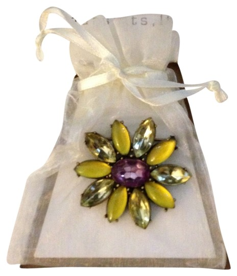 Other NEW 1990's Green Yellow & Purple Swarovski Multi-Faceted Rhinestone Navette Crystals Flower Pin Brooch Designed By Pursuits