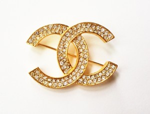 Chanel Authentic Vintage Chanel CC Rhinestone Gold Pin/Brooch Original Box