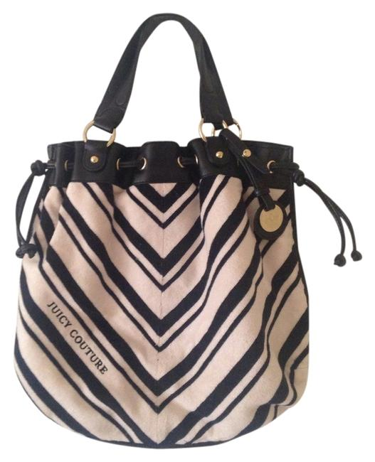 Juicy Couture Striped Cream and Navy Leather Terry Shoulder Bag Juicy Couture Striped Cream and Navy Leather Terry Shoulder Bag Image 1