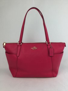 Coach Pebble Leather Leather Pink Tote in Ruby Pink