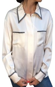 Chanel Button Down Silk Designer Button Down Shirt Ivory & Black
