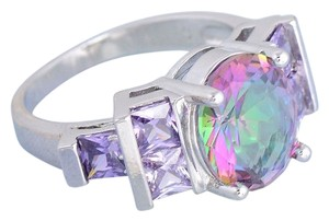 Purple Rainbow Fire Crystal Stone And Silver Color Ring Vintage-Style, Size 7