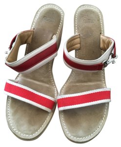 Coach Red and white Wedges
